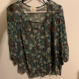 UO floral print 3/4 sleeve sheer blouse
